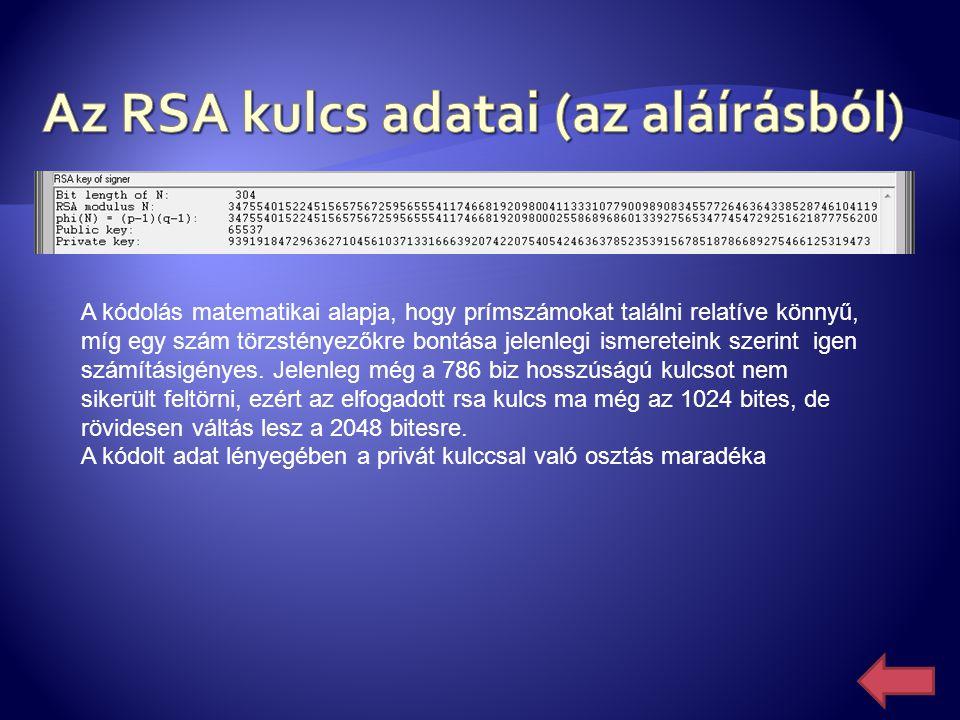 Az RSA kulcs adatai (az aláírásból)