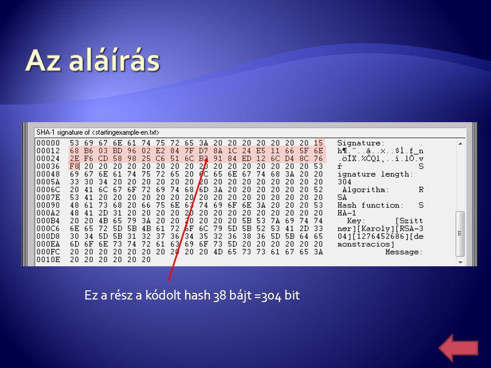 Az aláírás Ez a rész a kódolt hash 38 bájt =304 bit