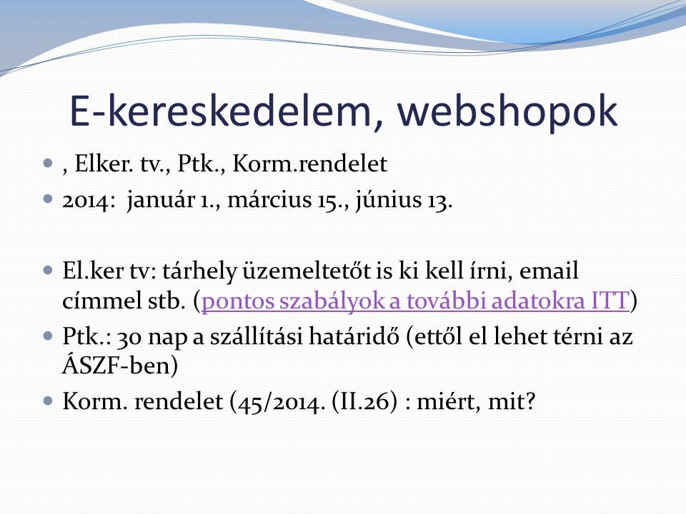 E-kereskedelem, webshopok