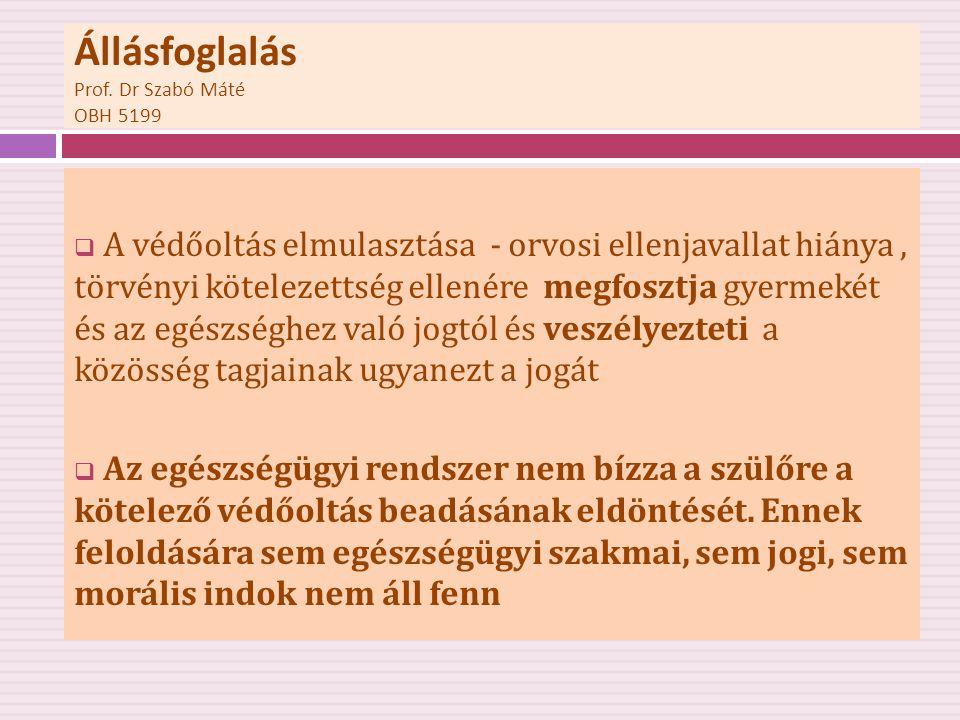 Állásfoglalás Prof. Dr Szabó Máté OBH 5199