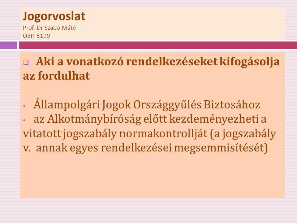Jogorvoslat Prof. Dr Szabó Máté OBH 5199