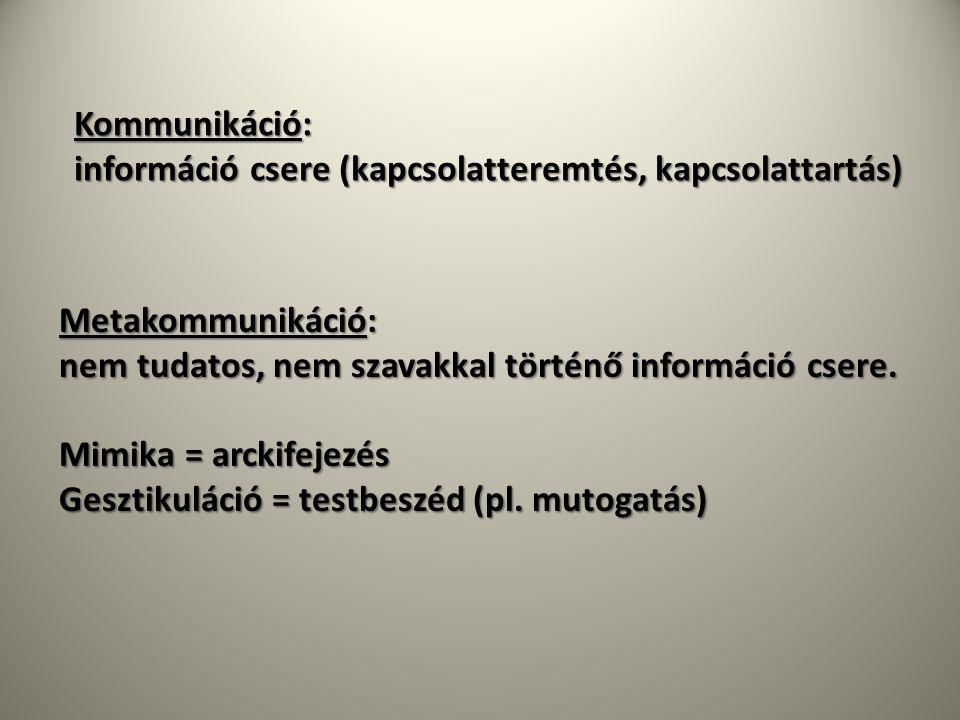 Kommunikáció: információ csere (kapcsolatteremtés, kapcsolattartás) Metakommunikáció: nem tudatos, nem szavakkal történő információ csere.