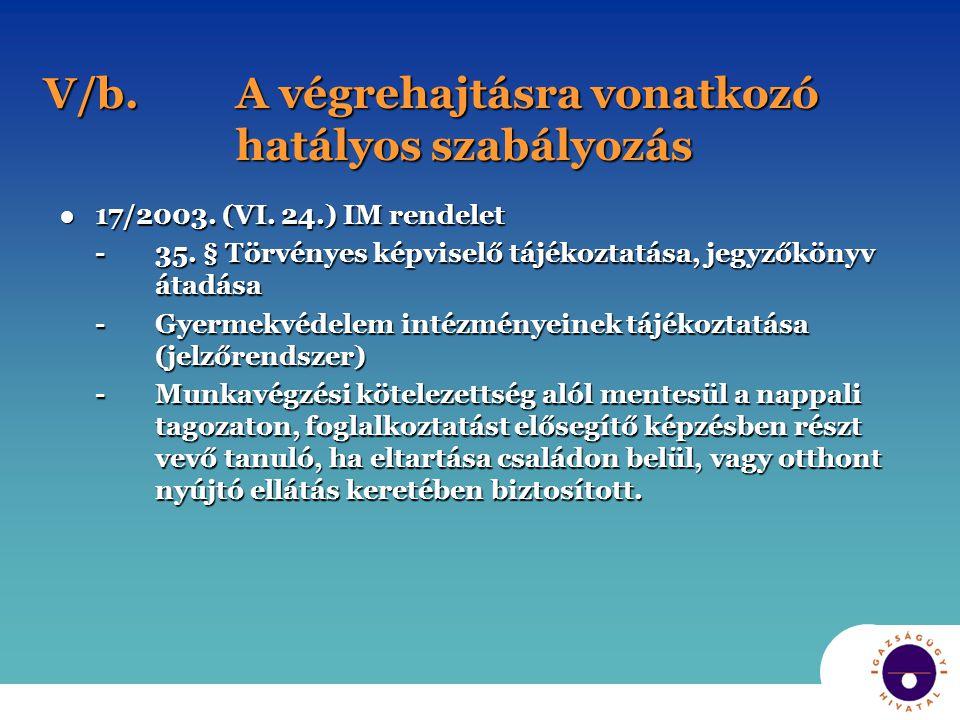 V/b. A végrehajtásra vonatkozó hatályos szabályozás