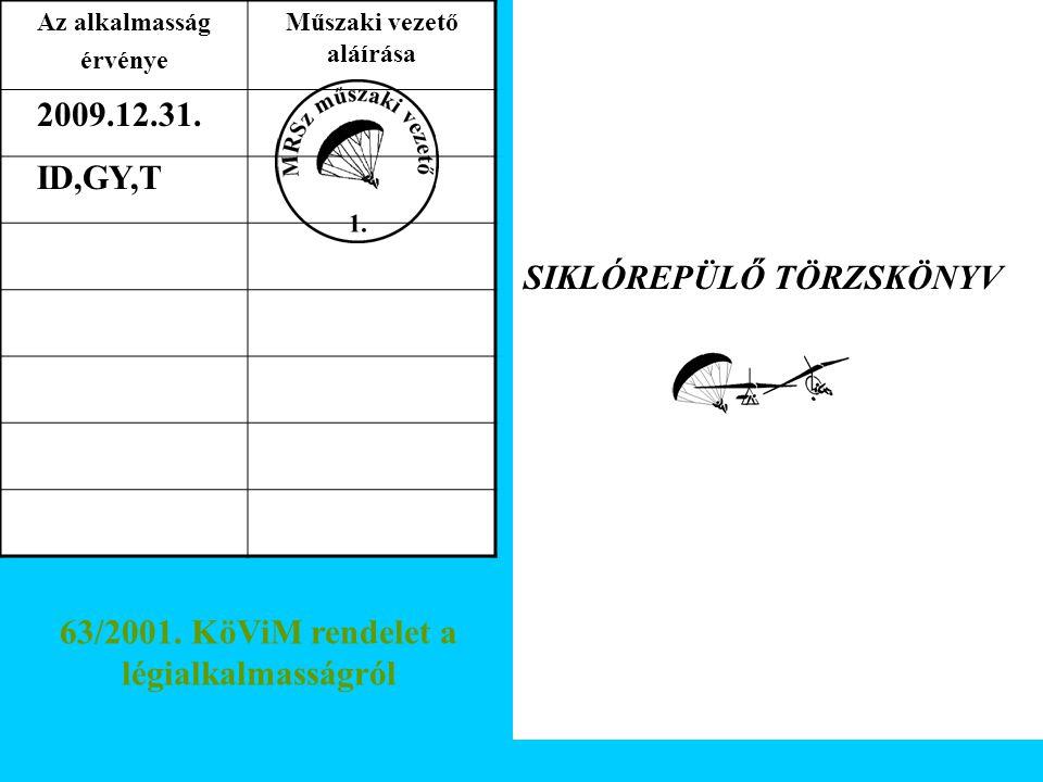 63/2001. KöViM rendelet a légialkalmasságról