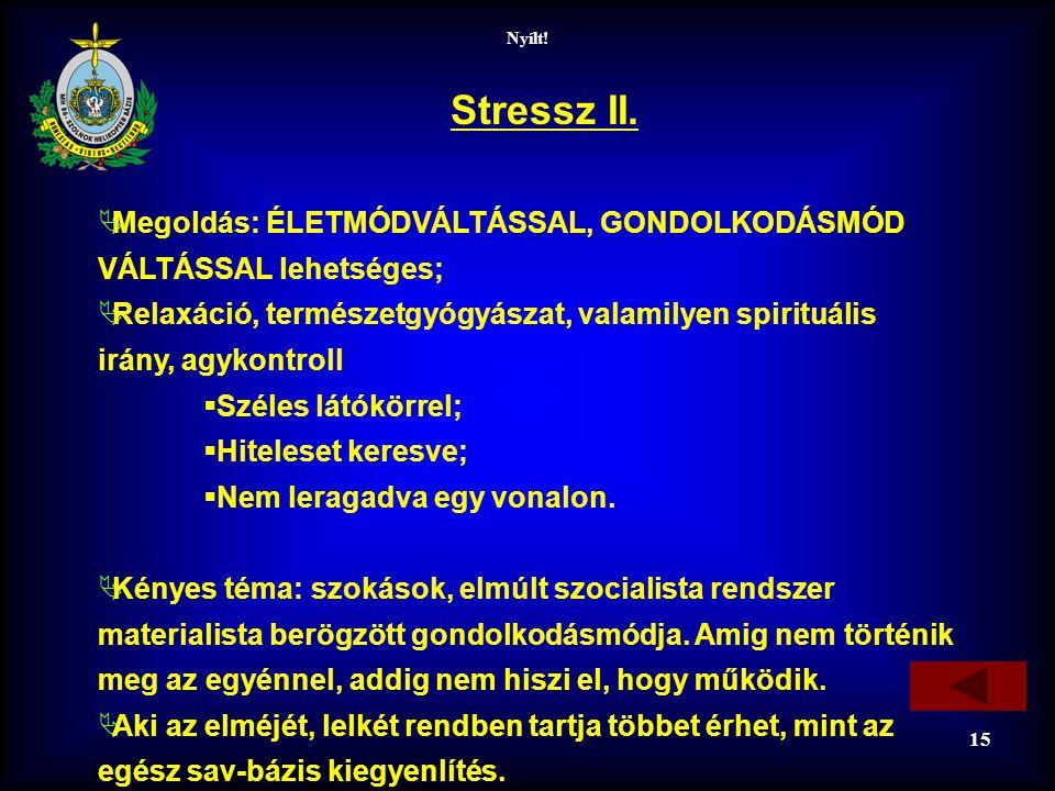 Stressz II. Megoldás: ÉLETMÓDVÁLTÁSSAL, GONDOLKODÁSMÓD VÁLTÁSSAL lehetséges;