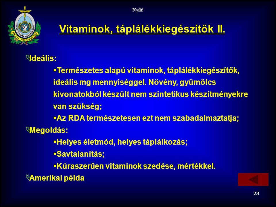 Vitaminok, táplálékkiegészítők II.