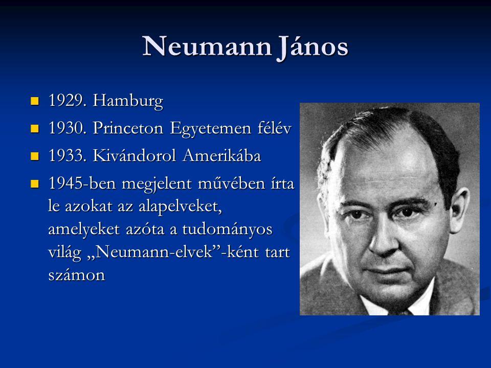 Neumann János 1929. Hamburg 1930. Princeton Egyetemen félév