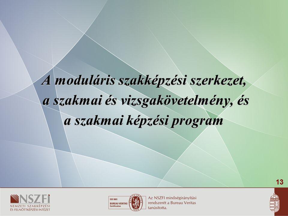 A moduláris szakképzési szerkezet, a szakmai és vizsgakövetelmény, és
