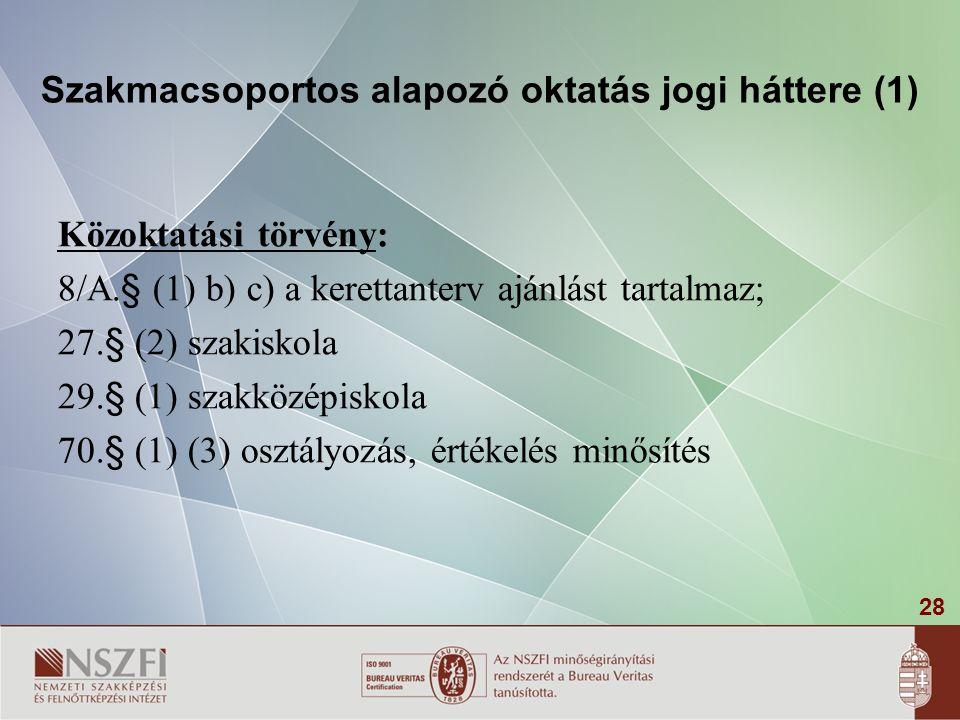 Szakmacsoportos alapozó oktatás jogi háttere (1)