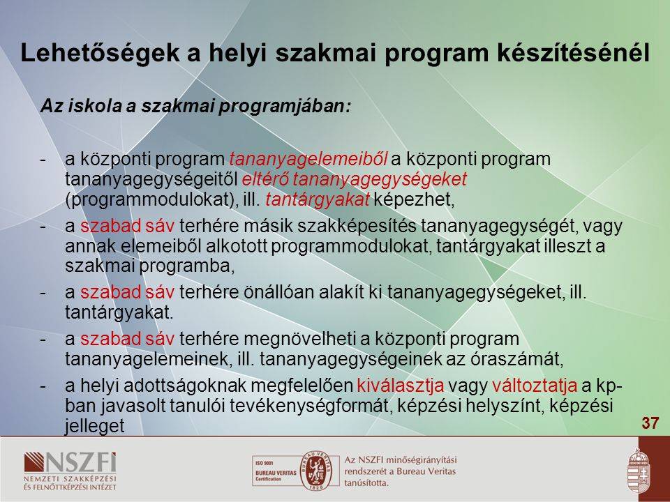 Lehetőségek a helyi szakmai program készítésénél