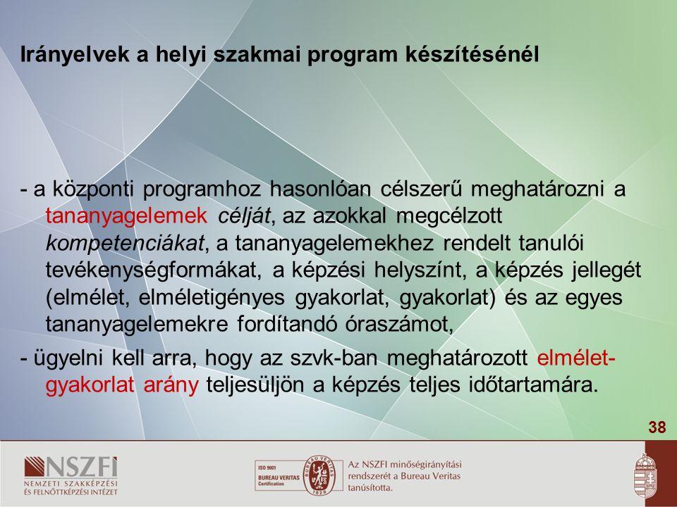 Irányelvek a helyi szakmai program készítésénél