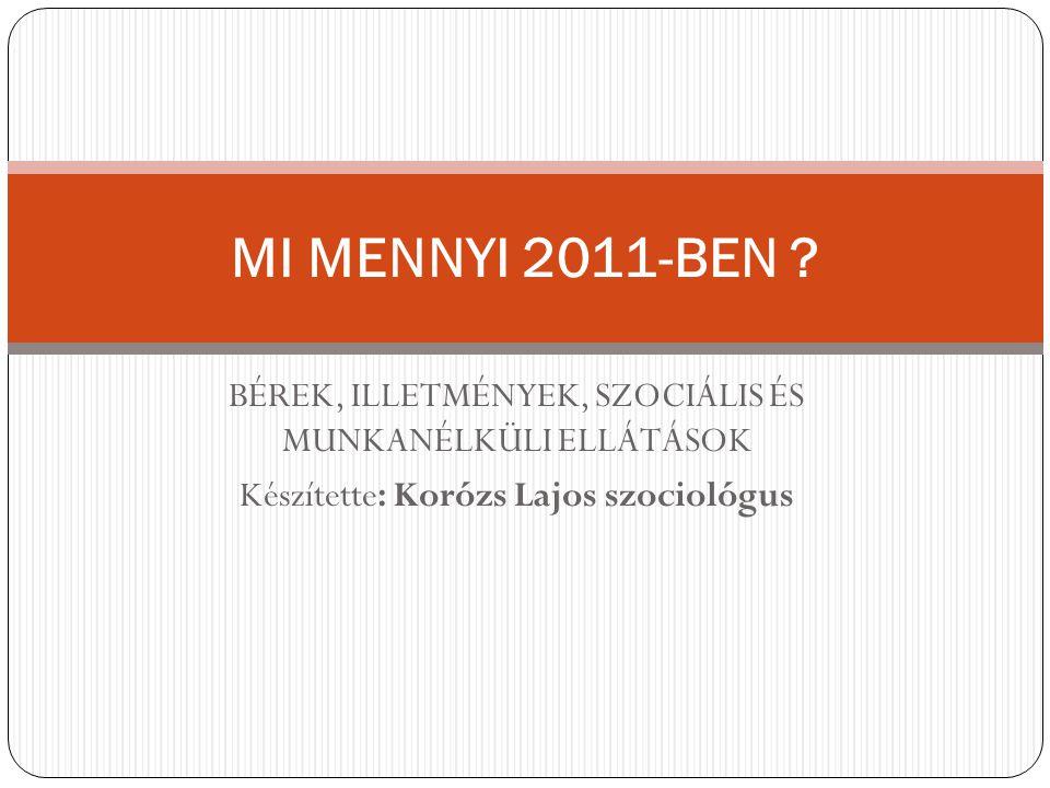 MI MENNYI 2011-BEN . BÉREK, ILLETMÉNYEK, SZOCIÁLIS ÉS MUNKANÉLKÜLI ELLÁTÁSOK.