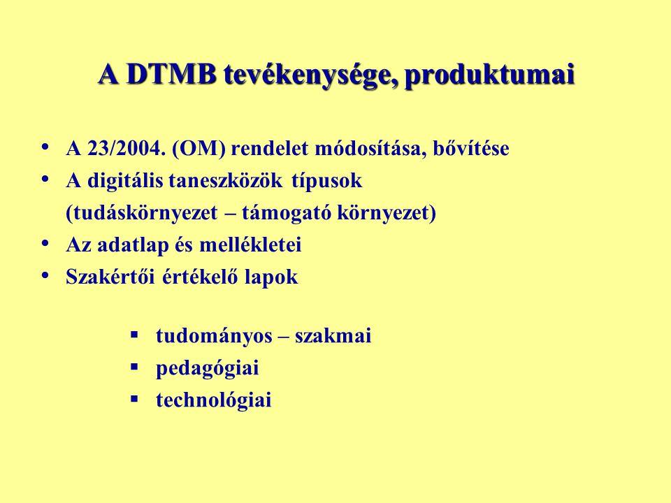 A DTMB tevékenysége, produktumai