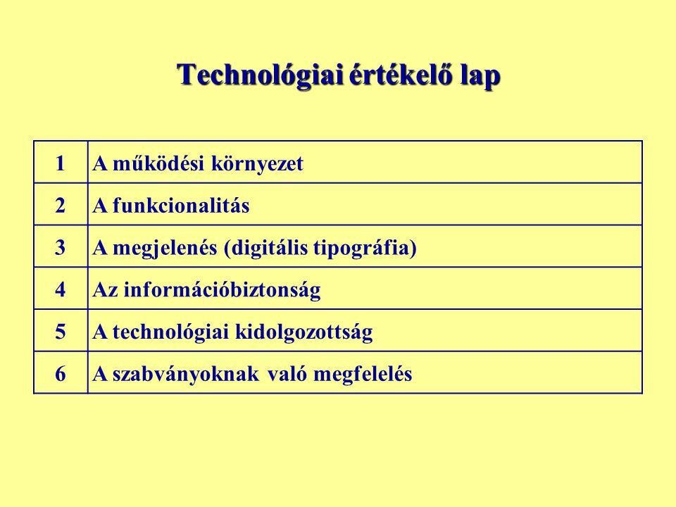 Technológiai értékelő lap