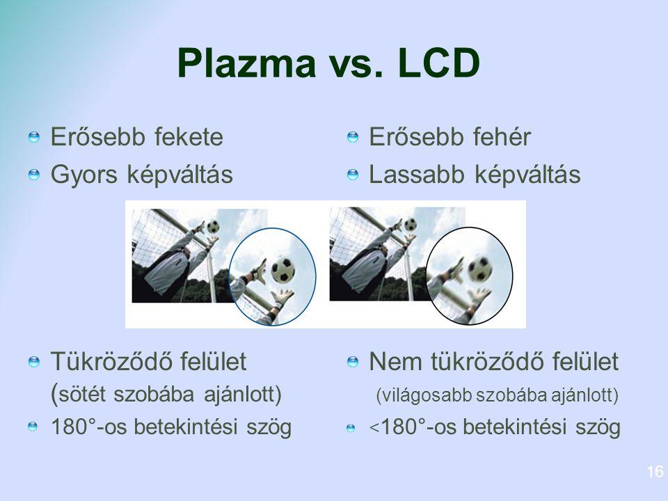 Plazma vs. LCD Erősebb fekete Gyors képváltás