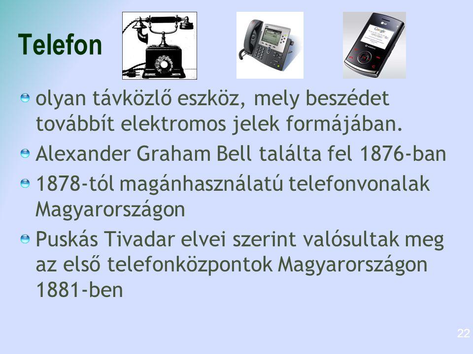 Telefon olyan távközlő eszköz, mely beszédet továbbít elektromos jelek formájában. Alexander Graham Bell találta fel 1876-ban.