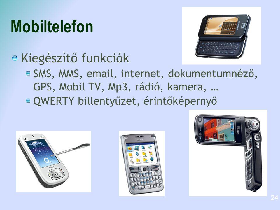 Mobiltelefon Kiegészítő funkciók