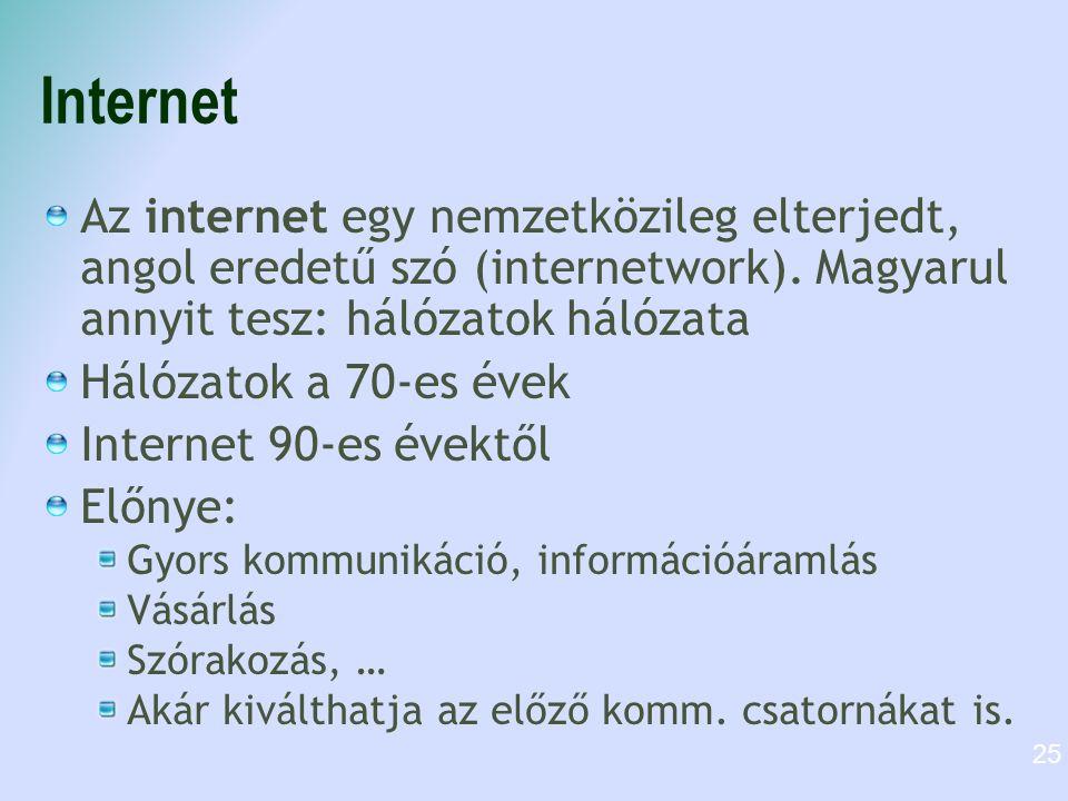 Internet Az internet egy nemzetközileg elterjedt, angol eredetű szó (internetwork). Magyarul annyit tesz: hálózatok hálózata.