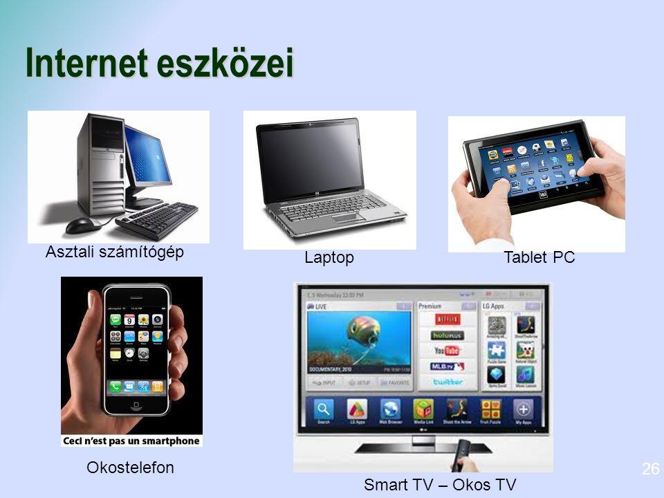Internet eszközei Asztali számítógép Laptop Tablet PC Okostelefon