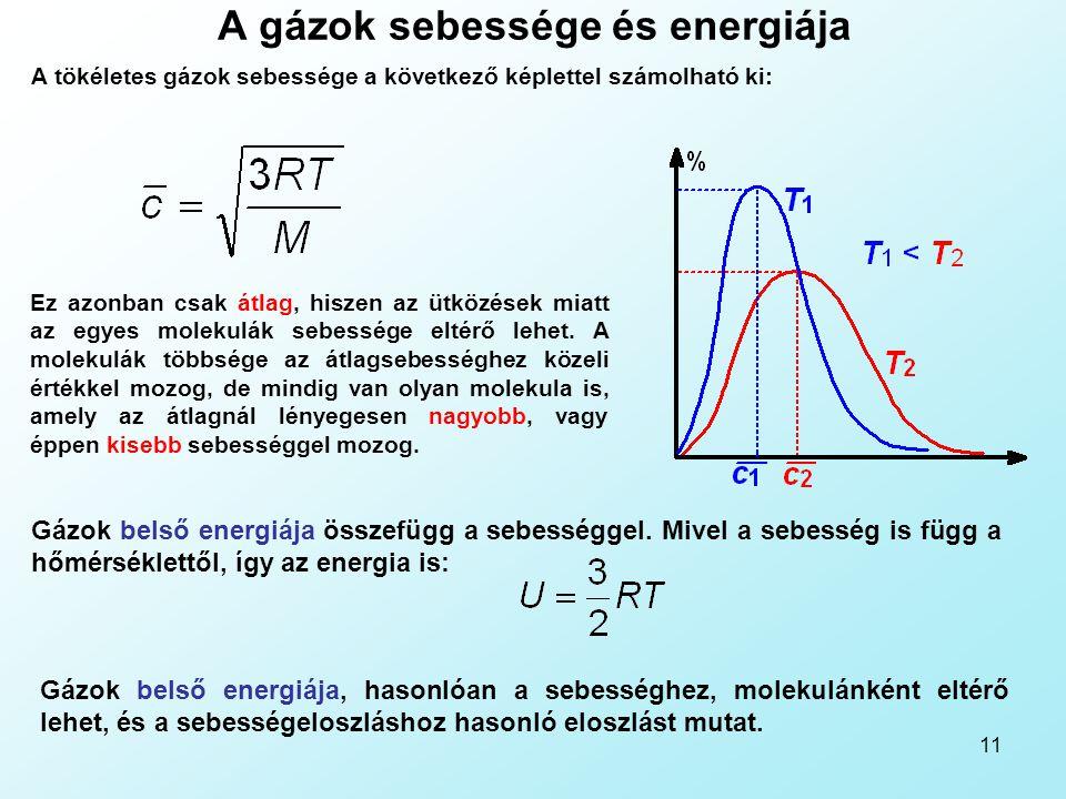 A gázok sebessége és energiája
