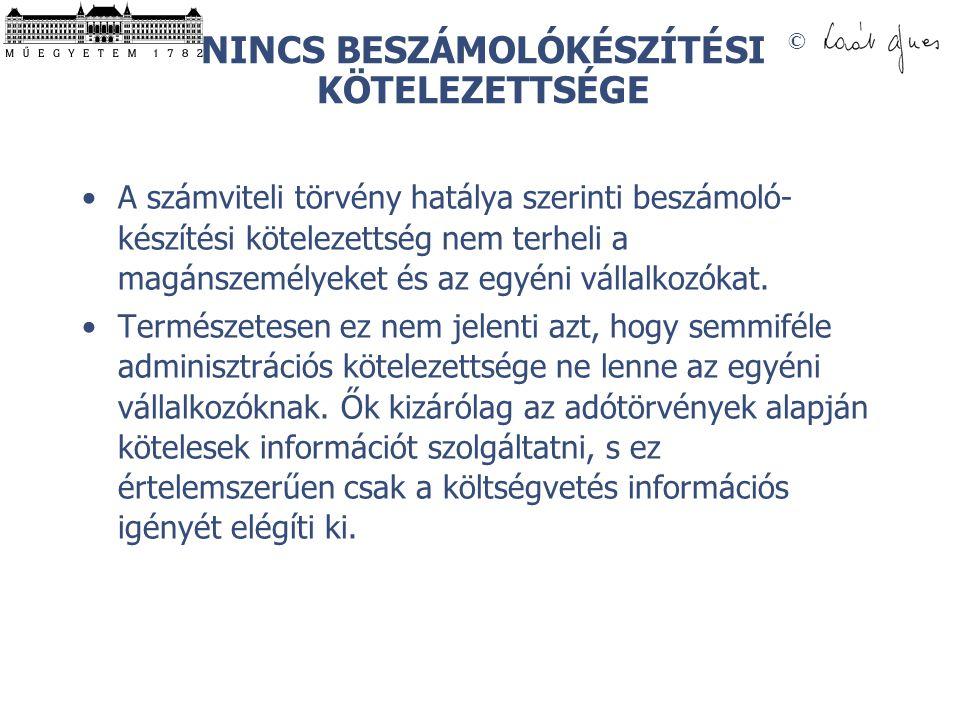 NINCS BESZÁMOLÓKÉSZÍTÉSI KÖTELEZETTSÉGE