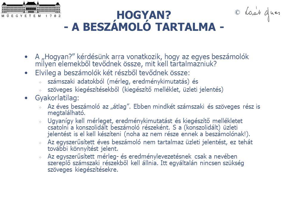 HOGYAN - A BESZÁMOLÓ TARTALMA -