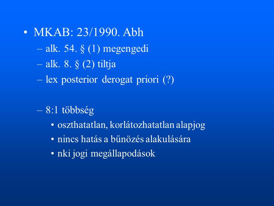 MKAB: 23/1990. Abh alk. 54. § (1) megengedi alk. 8. § (2) tiltja