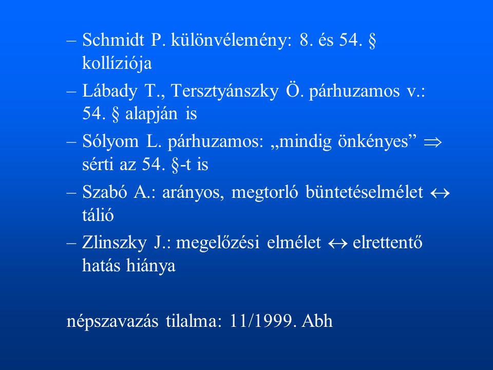 Schmidt P. különvélemény: 8. és 54. § kollíziója