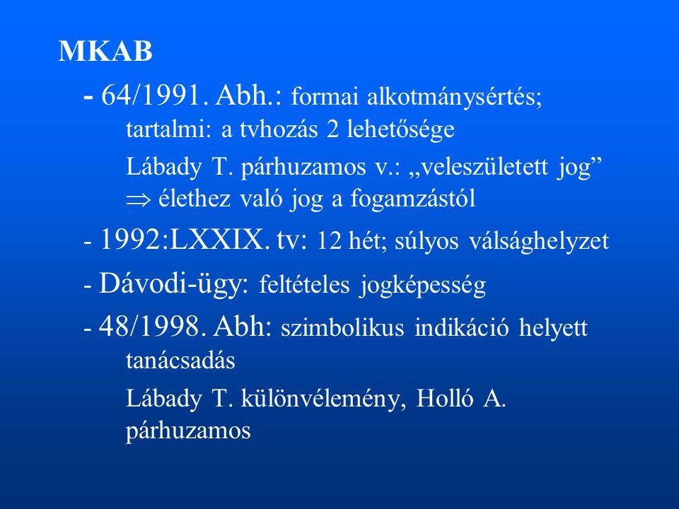 MKAB - 64/1991. Abh.: formai alkotmánysértés; tartalmi: a tvhozás 2 lehetősége.