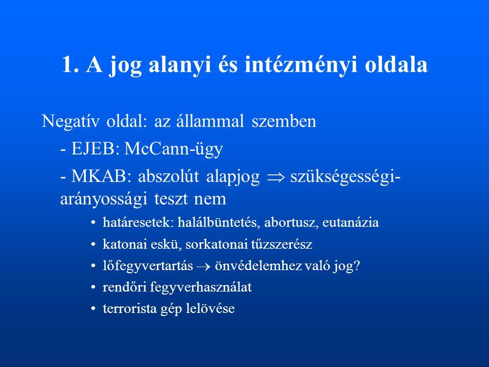 1. A jog alanyi és intézményi oldala