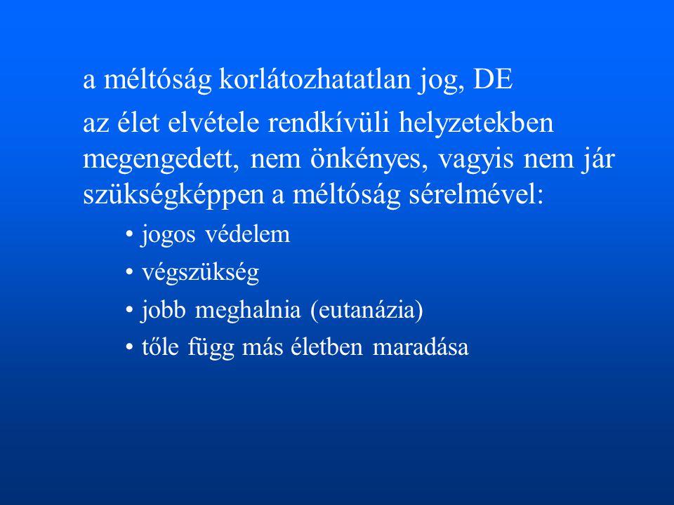 a méltóság korlátozhatatlan jog, DE