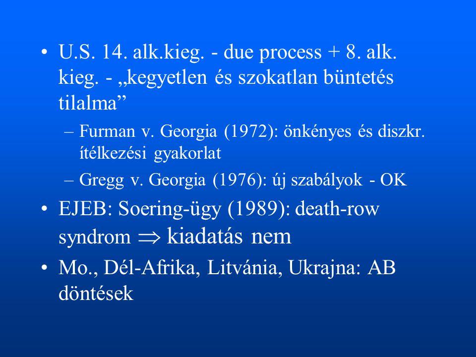 EJEB: Soering-ügy (1989): death-row syndrom  kiadatás nem