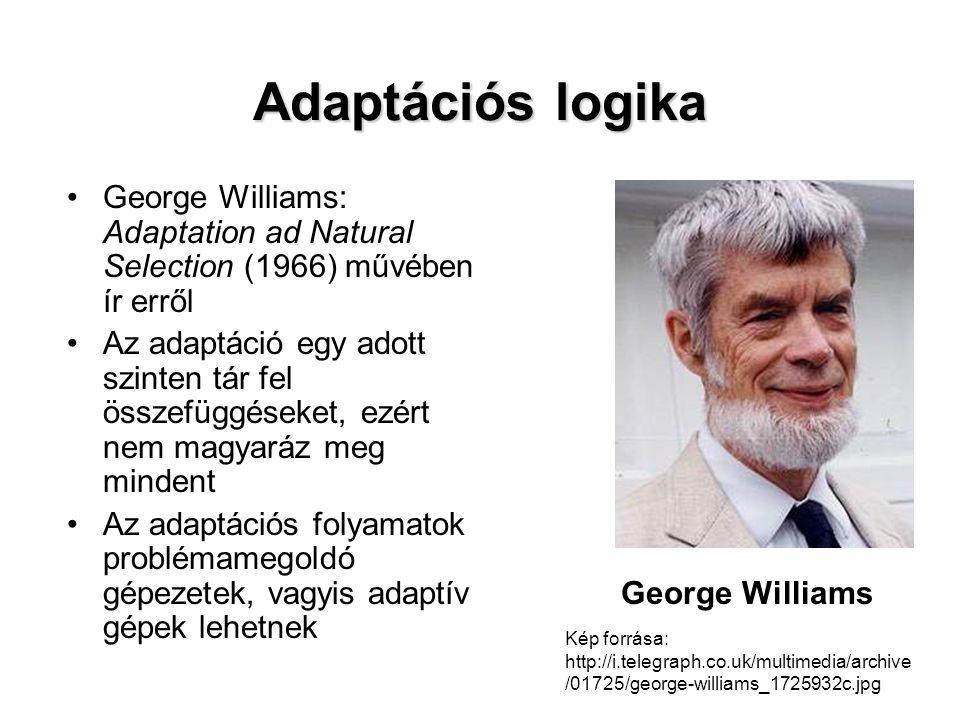 Adaptációs logika George Williams: Adaptation ad Natural Selection (1966) művében ír erről.