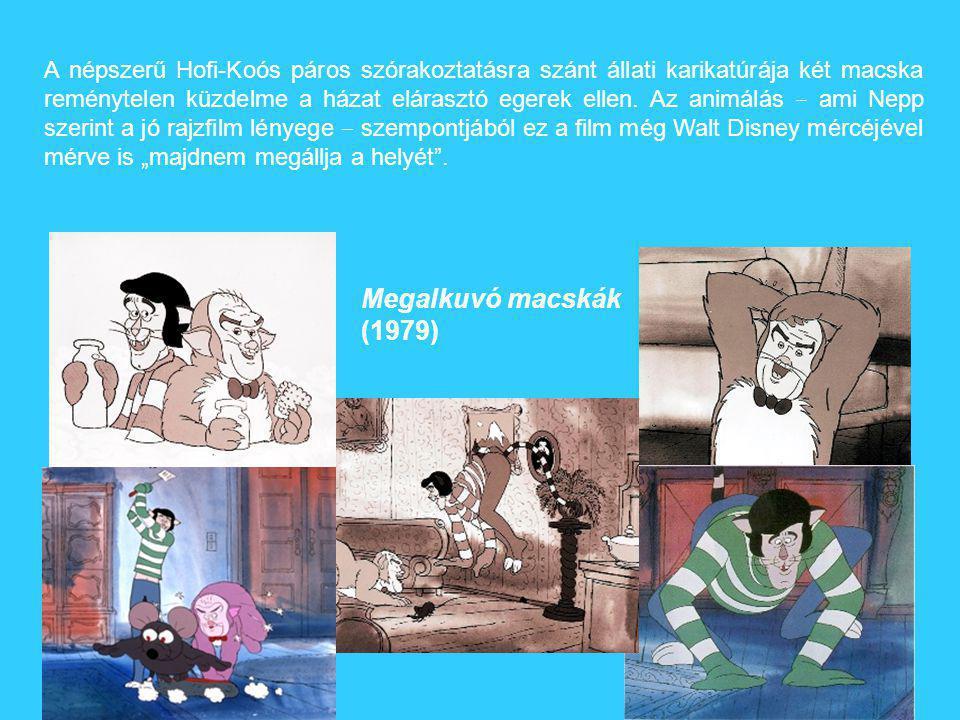 """A népszerű Hofi-Koós páros szórakoztatásra szánt állati karikatúrája két macska reménytelen küzdelme a házat elárasztó egerek ellen. Az animálás ‒ ami Nepp szerint a jó rajzfilm lényege ‒ szempontjából ez a film még Walt Disney mércéjével mérve is """"majdnem megállja a helyét ."""