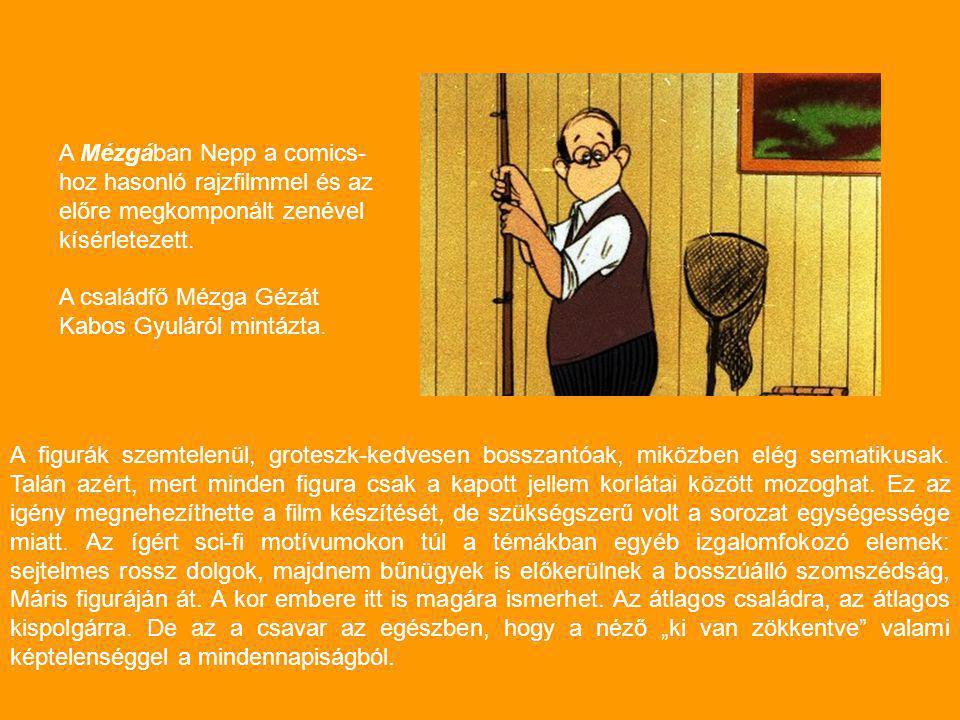A Mézgában Nepp a comics-hoz hasonló rajzfilmmel és az előre megkomponált zenével kísérletezett.
