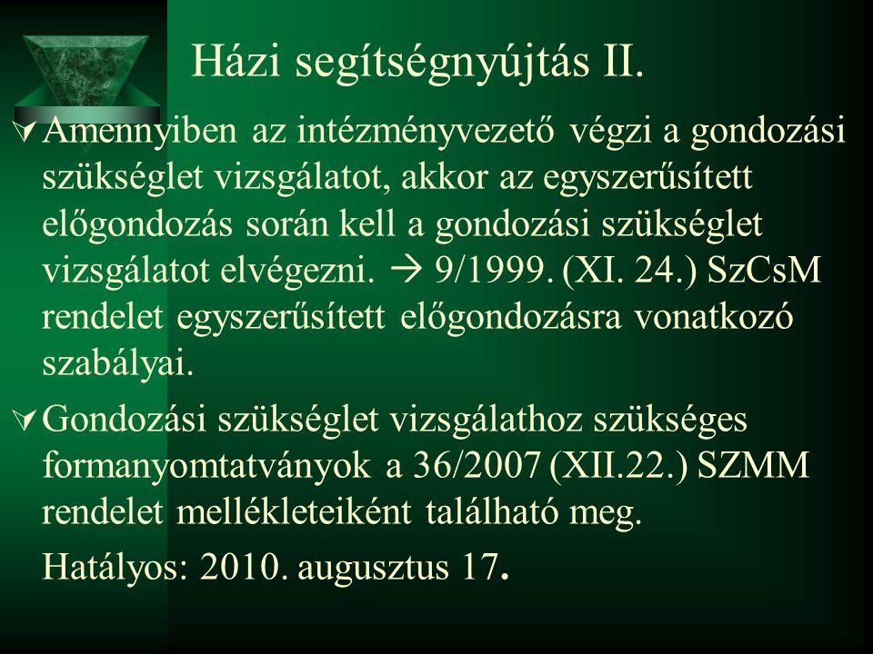 Házi segítségnyújtás II.