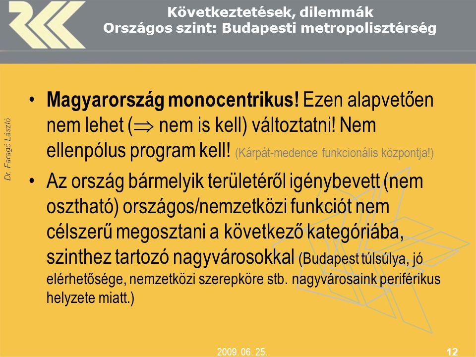 Következtetések, dilemmák Országos szint: Budapesti metropolisztérség