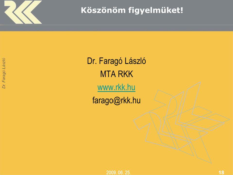 Dr. Faragó László MTA RKK www.rkk.hu farago@rkk.hu