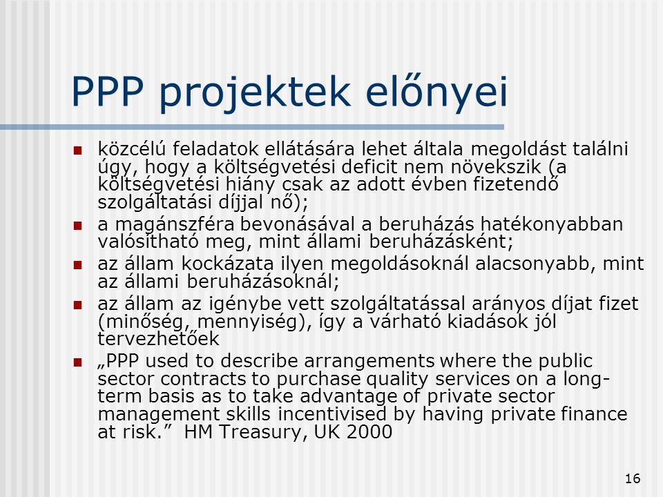 PPP projektek előnyei