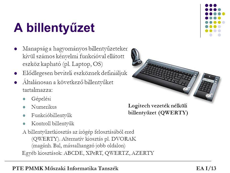 A billentyűzet Manapság a hagyományos billentyűzeteken kívül számos kényelmi funkcióval ellátott eszköz kapható (pl. Laptop, OS)