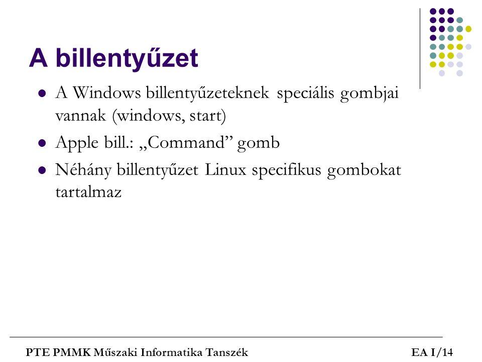 """A billentyűzet A Windows billentyűzeteknek speciális gombjai vannak (windows, start) Apple bill.: """"Command gomb."""