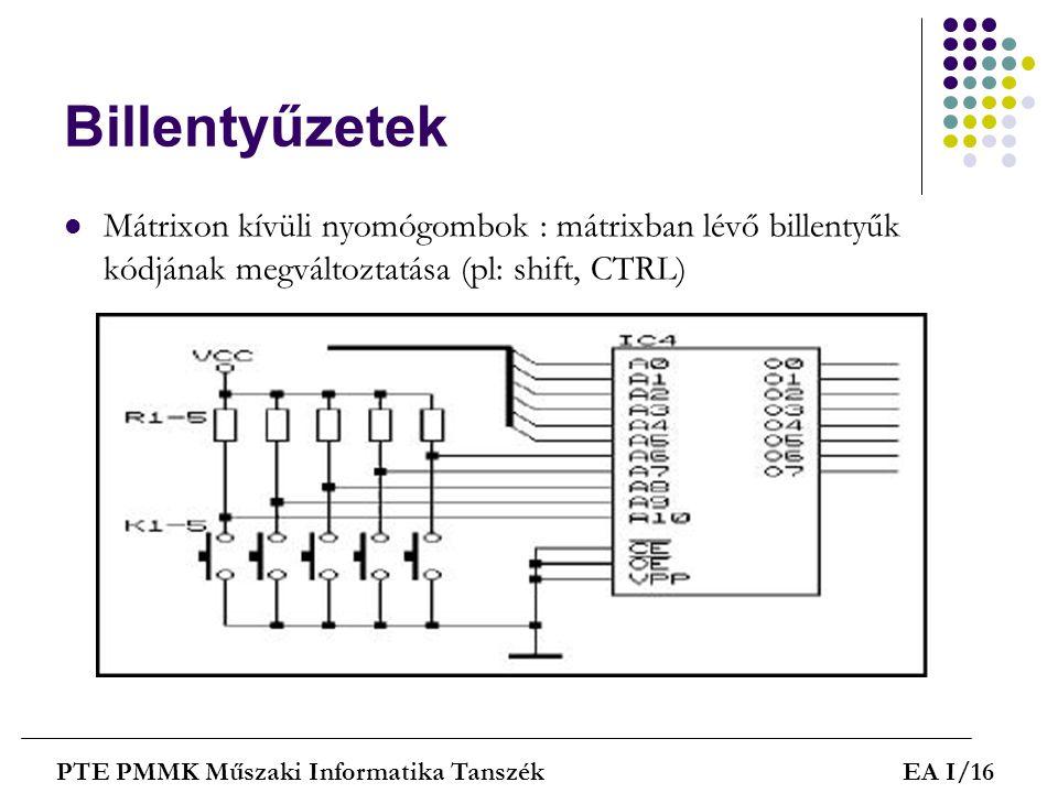 Billentyűzetek Mátrixon kívüli nyomógombok : mátrixban lévő billentyűk kódjának megváltoztatása (pl: shift, CTRL)