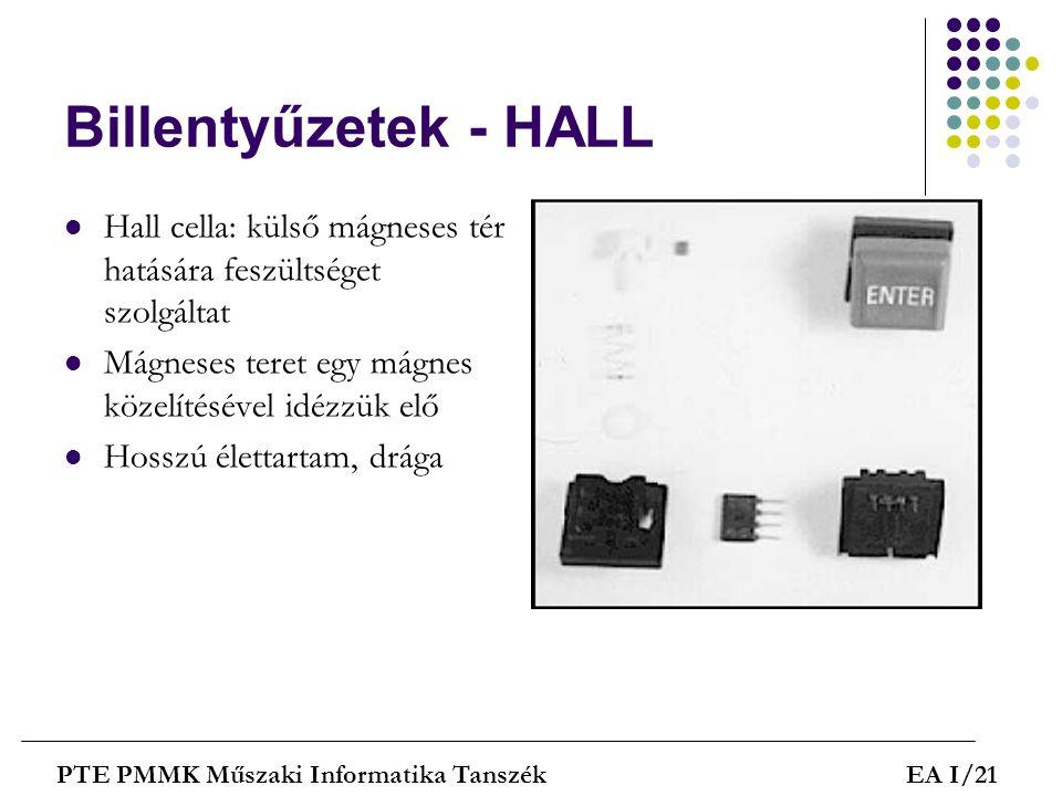 Billentyűzetek - HALL Hall cella: külső mágneses tér hatására feszültséget szolgáltat. Mágneses teret egy mágnes közelítésével idézzük elő.