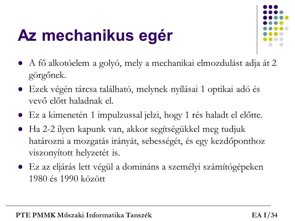 Az mechanikus egér A fő alkotóelem a golyó, mely a mechanikai elmozdulást adja át 2 görgőnek.