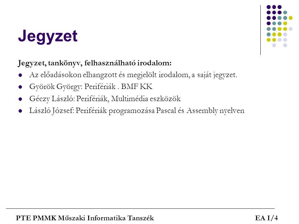 Jegyzet Jegyzet, tankönyv, felhasználható irodalom: