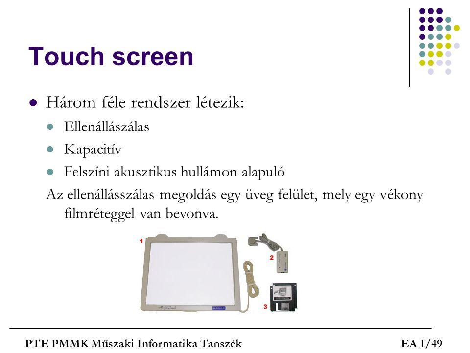 Touch screen Három féle rendszer létezik: Ellenállászálas Kapacitív