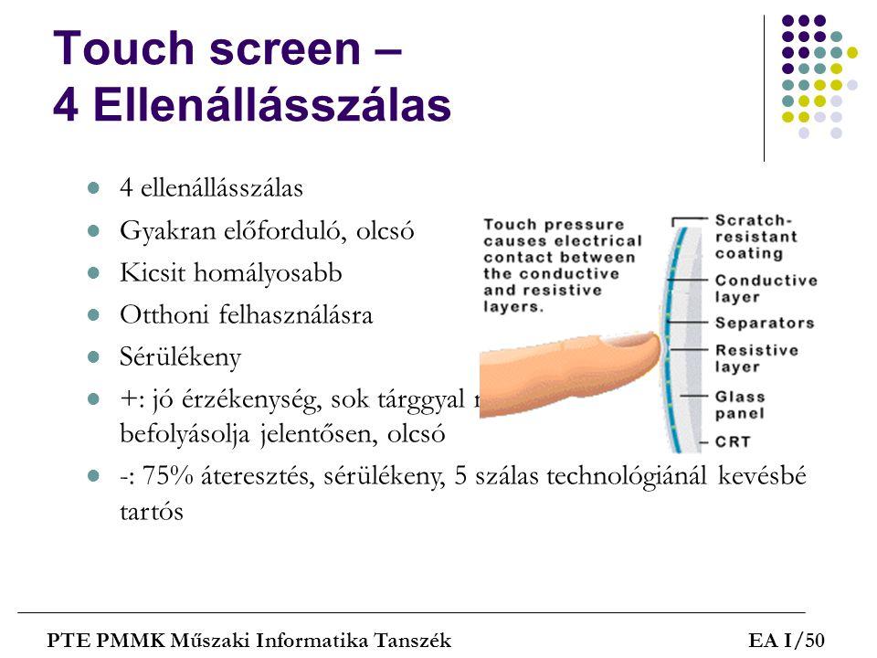 Touch screen – 4 Ellenállásszálas