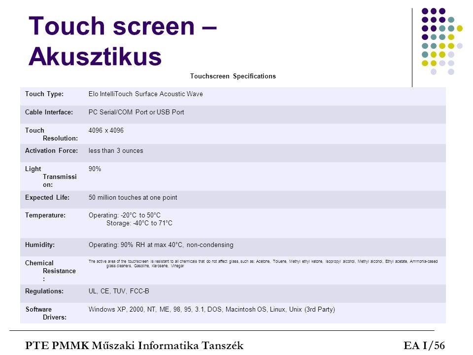 Touch screen – Akusztikus
