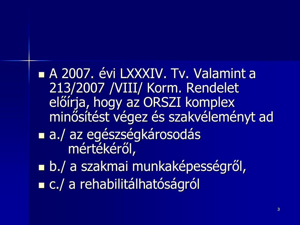 A 2007. évi LXXXIV. Tv. Valamint a 213/2007 /VIII/ Korm