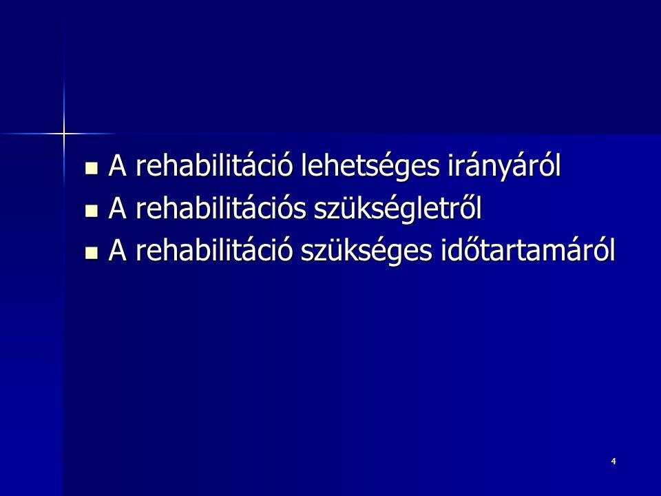 A rehabilitáció lehetséges irányáról